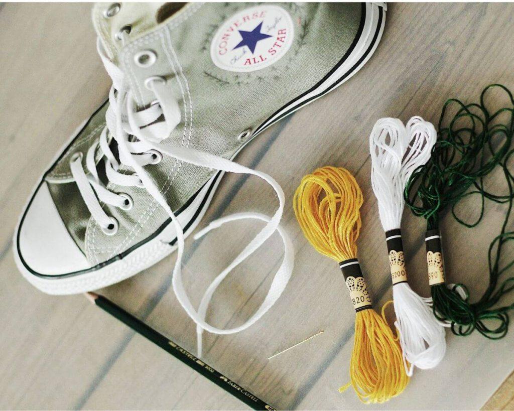 Schuhe besticken Material