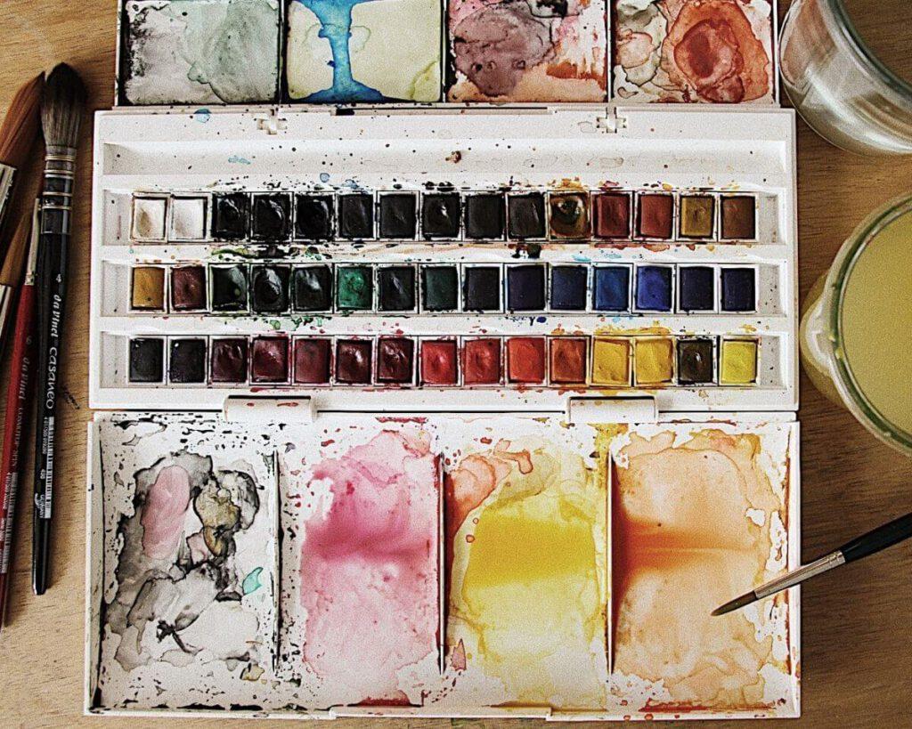 Aquarell malen lernen Farbe anrühren