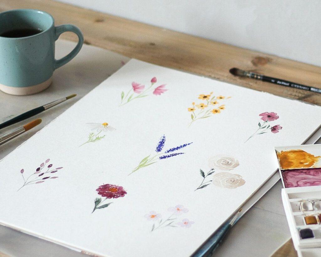 Aquarell Blumen malen: 9 einfache Watercolor Flowers für Anfänger