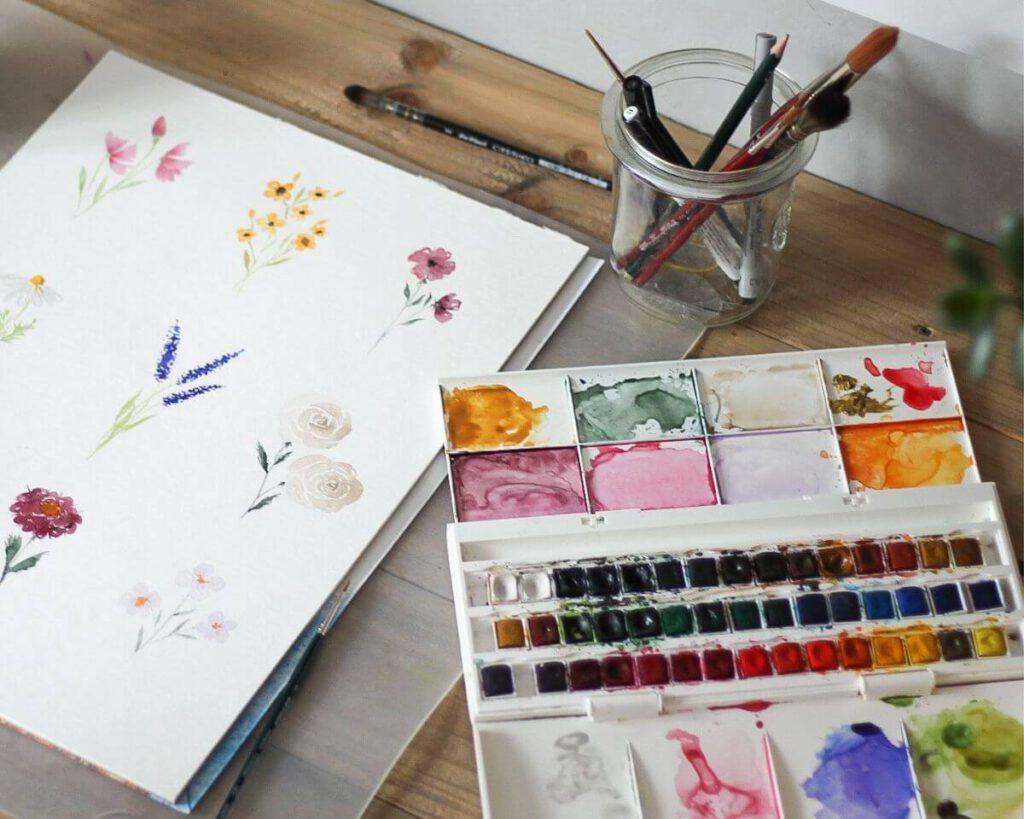 Materialien für Aquarellblumen